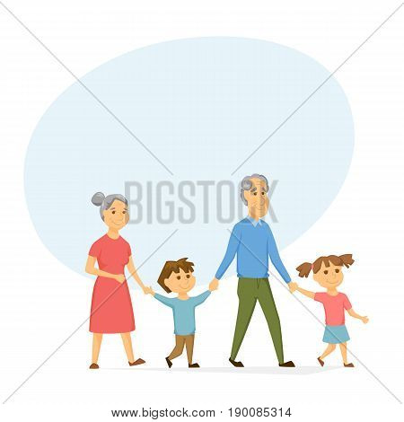 Grandparents with grandchildren walking. Old people have leisure with kids. Grandma and Grandpa hold hands girl and a boy. Seniors activity. Happy family together