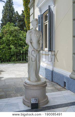 GASTOURI, GREECE - MAY 15: Statue of Sissi in Achilleion palace on May 15, 2017 in Gastouri, Corfu island in Greece. Achilleion was the palace of empress Elisabeth of Austria, also known as Sisi.