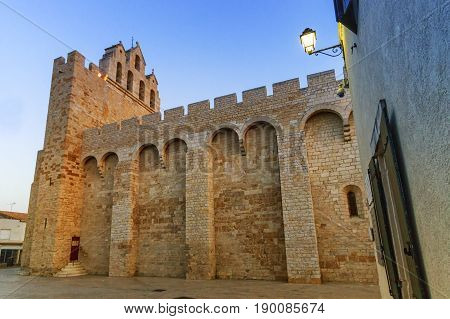 Side of fortified church of Saintes-Maries-de-la-mer, Camargue, France