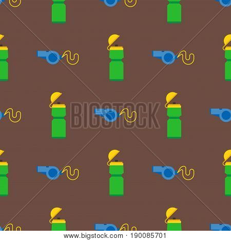 Referee whistle and sport bottle seamless pattern vector illustration sport game equipment. Soccer blower attention warning trainer coach judgment security football goal.