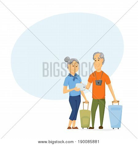 Seniors travel with suitcase and use tablet. Pensioners have a trip together. Old man and women look at computer map.