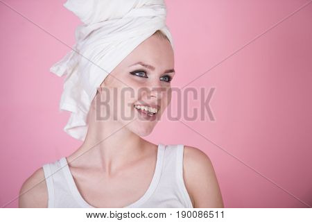 Smiling Girl With Healthy Teeth And White Towel On Head