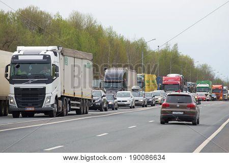 NOVGOROD REGION, RUSSIA - MAY 27 2017: Traffic jam on the M10