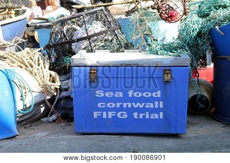 Port Isaac, Cornwall, Uk - April 8Th 2017: Chiiler Box Used By Fishermen With The Text