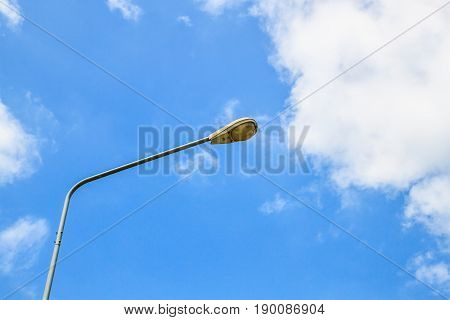 Street Lights with cloud and blue sky space.