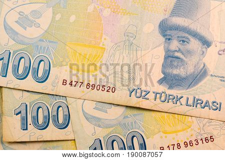 Close up Turkish lira currency note TRY