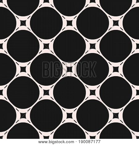 Vector seamless pattern. Subtle geometric background. Circles pattern. Stitches lines pattern. Monochrome seamless pattern. Mesh perforated pattern. Simple dark abstract background. Square repeat design element
