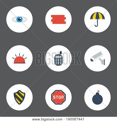 Flat Icons Parasol, Camera, Explosive And Other Vector Elements. Set Of Security Flat Icons Symbols Also Includes Sign, Security, Road Objects.