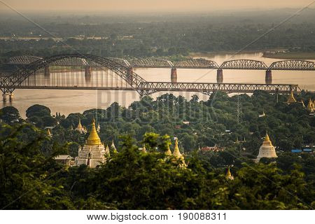 The pagoda in Sagaing city the old capital of ancient Myanmar.