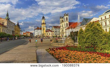 Banska Bystrica's main square by day, Slovakia