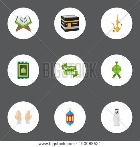 Flat Icons Malay, Mecca, Pitcher And Other Vector Elements. Set Of Holiday Flat Icons Symbols Also Includes Hari, Arabian, Koran Objects.