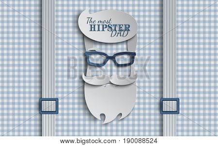 Happy Fathers Day card design for male event banner or poster. Checkered blue background with suspenders paper cut hipster men's face silhouette with beard mustache glasses. Vector illustration