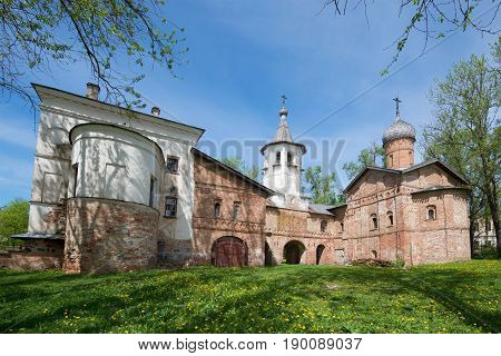 Old Church of the Annunciation and of the Archangel Michael, sunny May day. Veliky Novgorod, Russia
