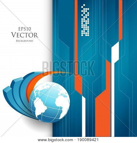 Colorful vector background with globe. Bright abstract illustration. Elements for your design. Eps10