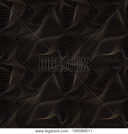 Vector golden pattern. Stylish gold lines on black background pattern. Seamless pattern. Curved metal background. 3D visual effect  seamless pattern. Abstract dynamic surface pattern. Illusion of movement curvature pattern. Dark design background pattern.