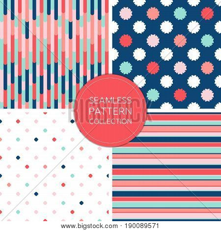 Vector seamless pattern collection. Fashion background. Soft pink pattern. Navy blue texture pattern. Mint pattern background. Coral and red design pattern. Trendy simple design vector pattern set for decoration, cover template, card background