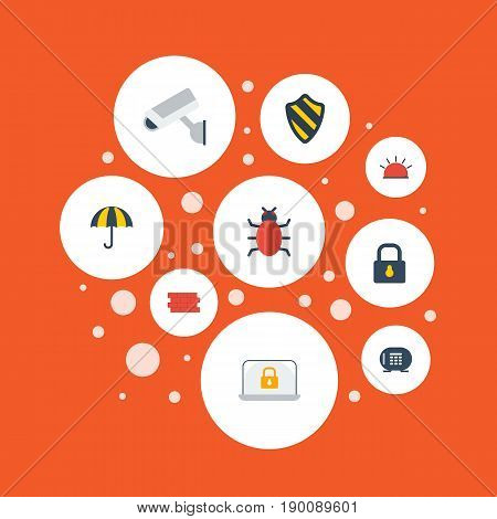 Flat Icons Parasol, Camera, Virus And Other Vector Elements. Set Of Safety Flat Icons Symbols Also Includes Alarm, Camera, Parasol Objects.