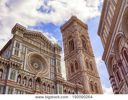 Giotto's bell tower and Cathedral Santa Maria del Fiore, Duomo, by day in Florence, Tuscany, Italy