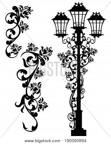 antique street light among rose flowers - black vector silhouette design