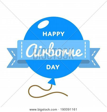 Happy Airborne Day emblem isolated vector illustration on white background. 16 august USA patriotic holiday event label, greeting card decoration graphic element