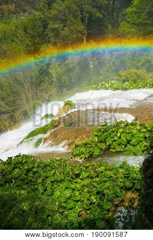 Raimbow over Marmore's waterfalls in Umbria Italy