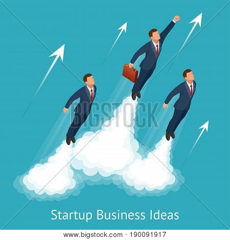 Vector isometric startup business, innovation, technology, start button , take off young businessmen, development and business launch up.