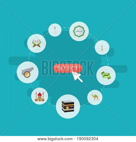 Flat Icons Decorative, Ramadan Kareem, Holy Book And Other Vector Elements. Set Of Ramadan Flat Icons Symbols Also Includes Mosque, Minaret, Decorative Objects.