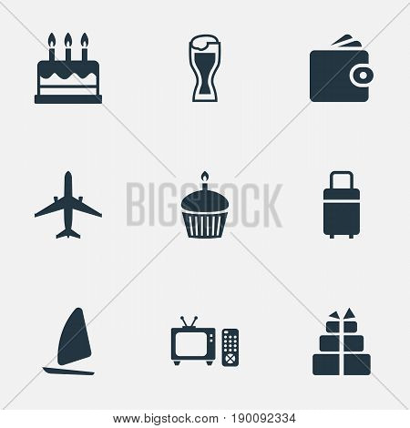 Vector Illustration Set Of Simple Vacation Icons. Elements Birthday Dessert, Pastry, Tv Set And Other Synonyms Entertaiment, Purse And Cupcake.