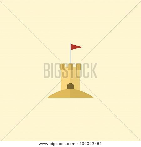 Flat Icon Sand Element. Vector Illustration Of Flat Icon Castle Isolated On Clean Background. Can Be Used As Sand, Castle And Tower Symbols.