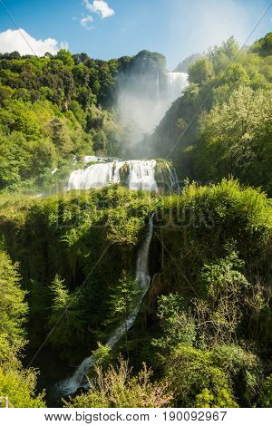 View of Marmore's waterfalls in Umbria Italy