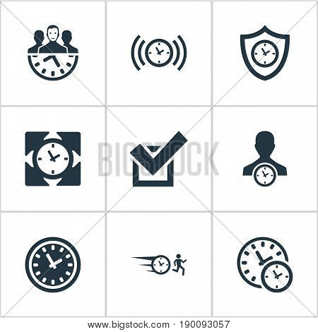Vector Illustration Set Of Simple Management Icons. Elements Approve, Sync, Shield And Other Synonyms Shield, Timing And Synchronizing.