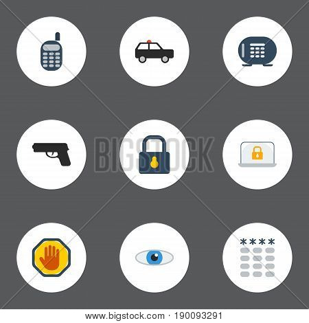Flat Icons Walkie-Talkie, Forbidden, Gun And Other Vector Elements. Set Of Safety Flat Icons Symbols Also Includes Phone, Suv, Hand Objects.