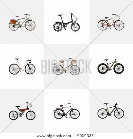 Realistic Brand , Road Velocity, Bmx Vector Elements. Set Of  Realistic Symbols Also Includes Brand, Folding, Hybrid Objects.