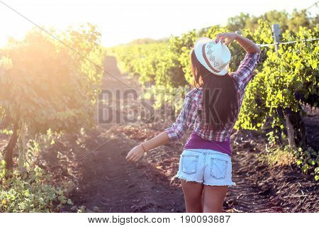 The Young Beautiful Woman Walks In The Vineyards. Portrait Of A Beautiful Young Woman With A Hat In