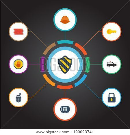 Flat Icons Key, Clue, Worker And Other Vector Elements. Set Of Security Flat Icons Symbols Also Includes Wall, Side, Lock Objects.