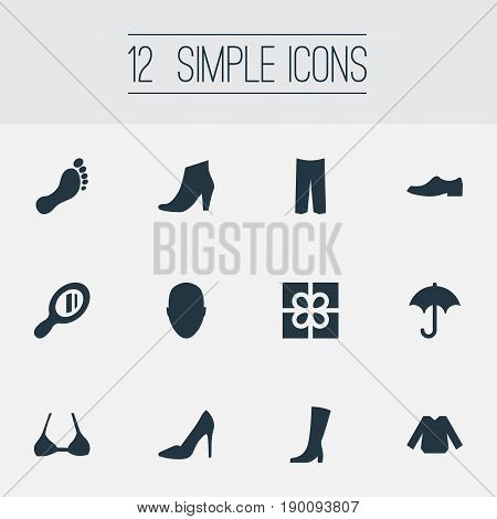 Vector Illustration Set Of Simple Clothes Icons. Elements Brolly, Winter Footwear, Brasserie And Other Synonyms Breeches, Make-Up And Apparel.