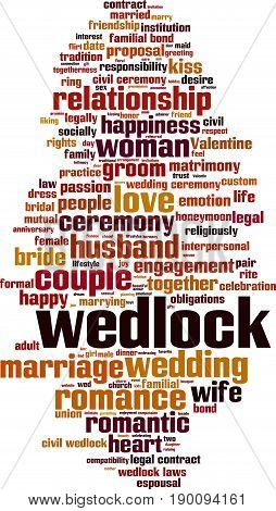 Wedlock word cloud concept. Vector illustration on white