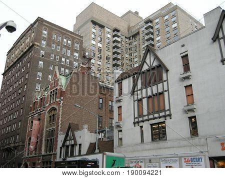 New York New York USA - December 30 2007: Dense cluster of buildings in New York City