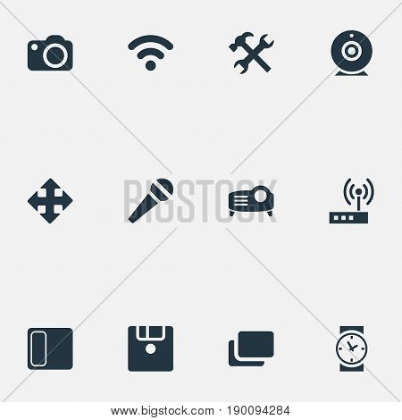 Vector Illustration Set Of Simple Technology Icons. Elements Call, Layout, Clock And Other Synonyms Branch, Speaker And Arrow.