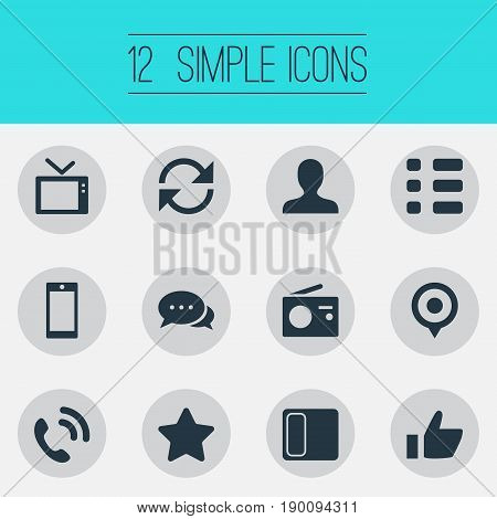 Vector Illustration Set Of Simple Network Icons. Elements Telly, Questionnaire, Member And Other Synonyms Vote, Replacement And Member.