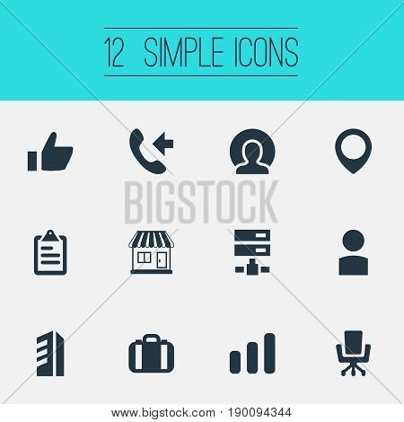 Vector Illustration Set Of Simple Company Icons. Elements Diplomat, Diagram, Good And Other Synonyms Diagram, International And Store.
