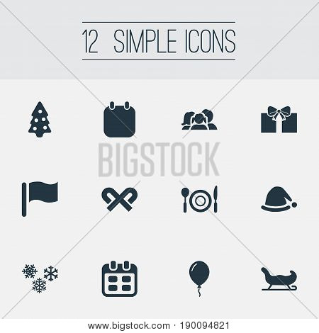 Vector Illustration Set Of Simple Celebration Icons. Elements Month, Relatives, Striped Lollipop And Other Synonyms Setting, Surprise And Christmas.