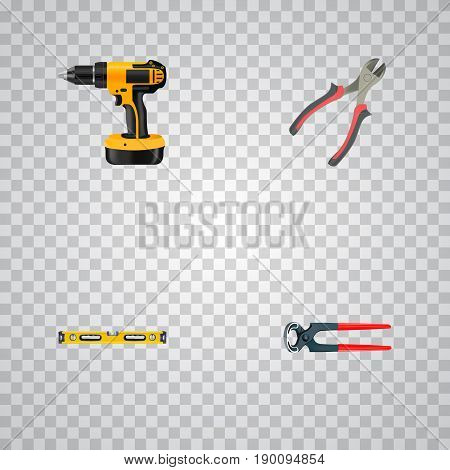 Realistic Tongs, Plumb Ruler, Electric Screwdriver And Other Vector Elements. Set Of Instruments Realistic Symbols Also Includes Screwdriver, Pliers, Level Objects.