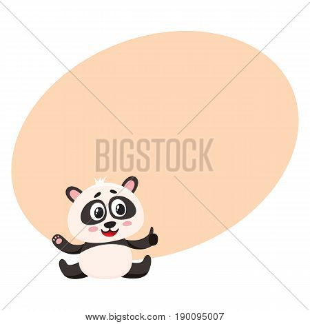 Cute and funny smiling baby panda character sitting, showing thumb up, cartoon vector illustration with space for text. Cute little panda bear character, mascot giving thumb up