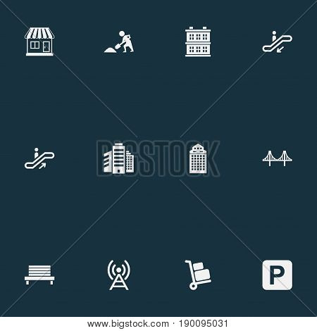 Vector Illustration Set Of Simple Public Icons. Elements Staircase, Airport Cart, Escalator And Other Synonyms Area, Megapolis And Antenna.