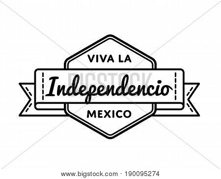 Mexican Independence Day emblem isolated vector illustration on white background. 16 september patriotic holiday event label, greeting card decoration graphic element