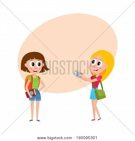 Two pretty girls, women tourists travelling together, one posing to another, making photo, cartoon vector illustration with space for text. Girls, women travelling together, sightseeing