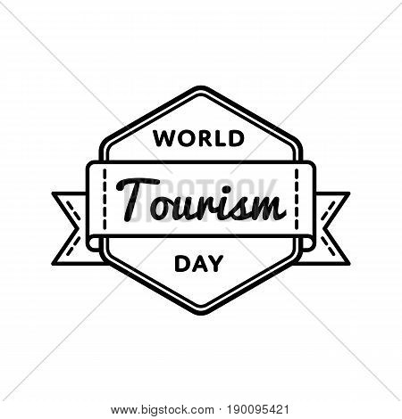 World Tourism day emblem isolated vector illustration on white background. 27 september global holiday event label, greeting card decoration graphic element