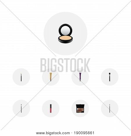 Realistic Day Creme, Collagen Tube, Powder Blush And Other Vector Elements. Set Of Maquillage Realistic Symbols Also Includes Brush, Cosmetics, Makeup Objects.