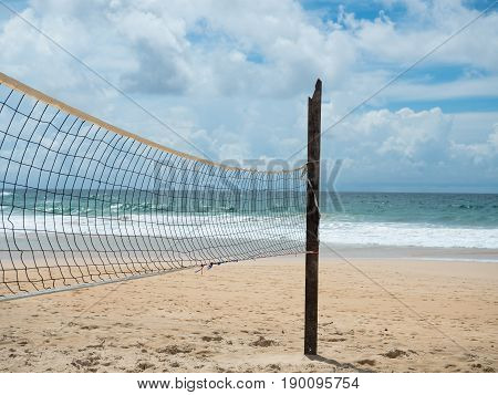 Volleyball on the tropical beach. The tropical island. The tropical beach.
